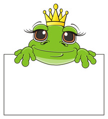 crown, queen, princess, golden, muzzle, face, peek up, poster, clean, animal, cartoon, toad, frog, toy, amphibian, reptile, croak, ribbit, happy, smiling
