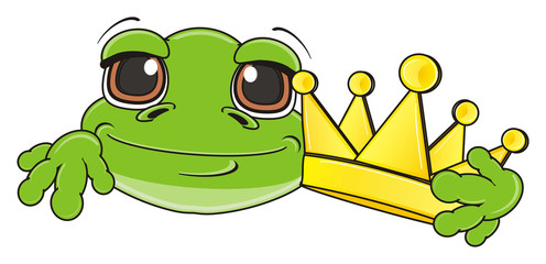 crown, golden, hold, muzzle, face, animal, cartoon, toad, frog, toy, amphibian, reptile, croak, ribbit, happy, smiling
