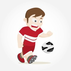 The Boy playing football vector illustration