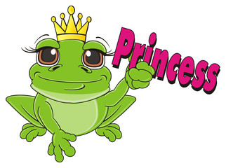 crown, queen, princess, sit, golden, word, inscription, animal, cartoon, toad, frog, toy, amphibian, reptile, croak, ribbit, happy, smiling