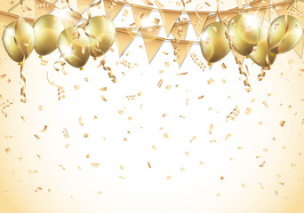 Gold balloons, confetti and streamers Vector
