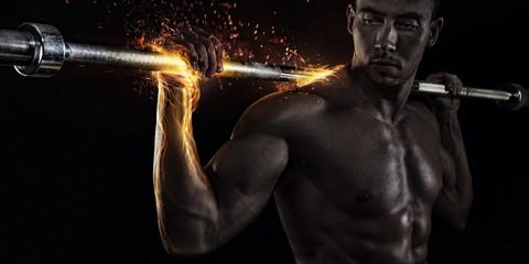 Closeup portrait of professional bodybuilder