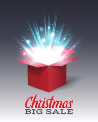Open red gift box with abstract light. Christmas Holiday. Vector illustration.