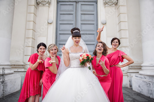 Crazy Wedding Bride And Bridesmaids In Identical Dresses