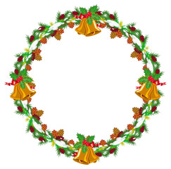 Holiday round garland decorated with pine branch, snow-flakes and cones.