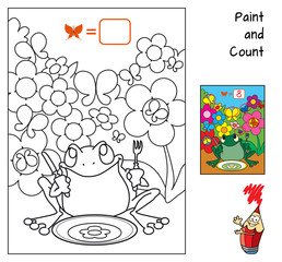 How many butterflies hide from the frog? Education counting game for children. Coloring book. Cartoon vector illustration