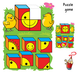 Help chickens to complete the figure - draw the cube with the right picture. Puzzle game. Coloring book. Cartoon vector illustration