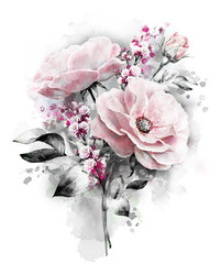 watercolor flowers. floral illustration, flower in Pastel colors, pink rose and gray leaf. branch of flowers isolated on white background. buds. Cute composition for wedding or  greeting card
