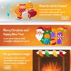 Beautiful set of winter flat vector banners of Christmas and New year