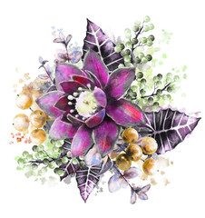watercolor flowers. floral illustration, purple flower. branch of flowers isolated on white background. Leaf, yellow berry and buds. Cute composition for wedding or  greeting card