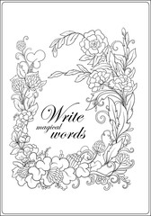 Anti stress coloring book for adult. Outline drawing floral frame