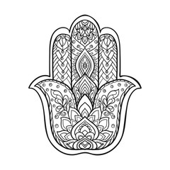 Vector Indian hand drawn hamsa symbol with ethnic ornaments. Out