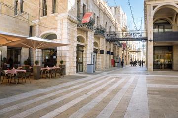 Mamilla road street near Jaffa gate of the old Jerusalem city, Israel