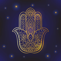 Vector Indian hand drawn hamsa symbol with ethnic ornaments. Gol