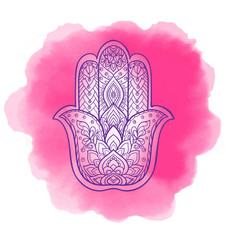 Vector Indian hand drawn hamsa symbol with ethnic ornaments. Whi