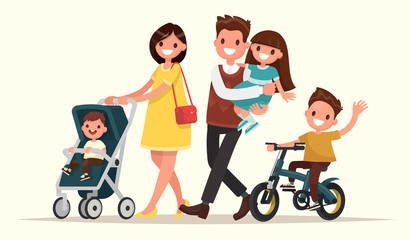 Big family on the walk. Mother with baby in a pram, Dad keeps da