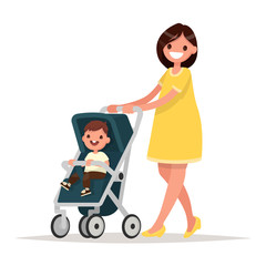 Motherhood. Happy young mother with the baby in the pram. Vector