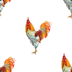 Vintage seamless pattern with farm animal rooster. Sketch style. Vector background. Perfect for wallpapers, pattern fills, web page backgrounds, surface textures, textile