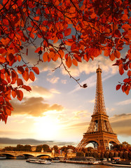 Wall Mural - Eiffel Tower with autumn leaves in Paris, France