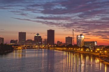 Rochester NY skyline at dawn
