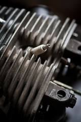 Motorcycle cylinder and spark plug detail
