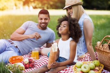 Happy family enjoying picnic Wall mural