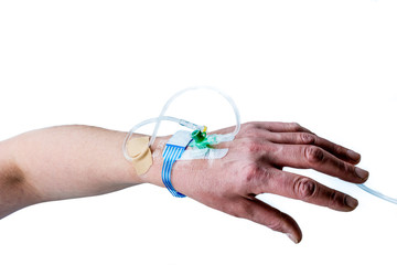 Hand and arm of patient with iv treatment on white background.