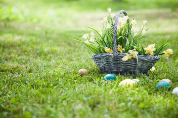 Wicker basket with flowers