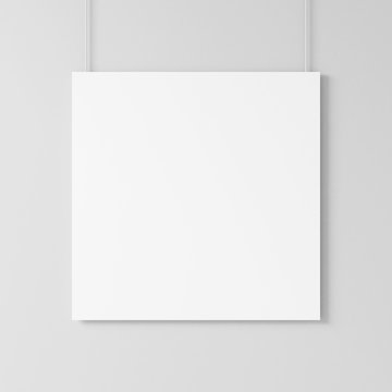 White blank square poster Mockup hanging on the wall on the ropes, 3d rendering