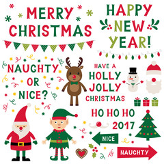 Christmas isolated characters (Santa, elf, reindeer) and lettering set, text in hand lettered font