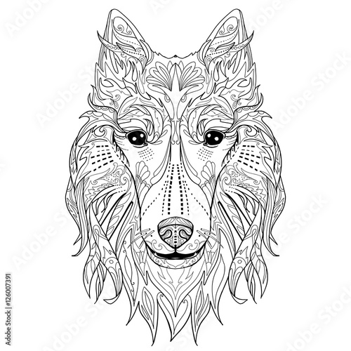 Ethnic Decorative Doodle Head Of Dog Coloring Book Page With Collie For Adults