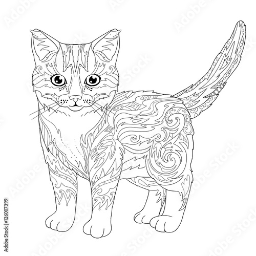 Ethnic decorative doodle cat. Coloring book page with kitten for ...