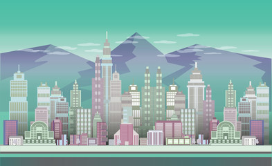 City Game Backgrounds with mountains  ,2d game application. Vector Illustration for your application , project.