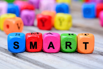 The colorful word Smart on table