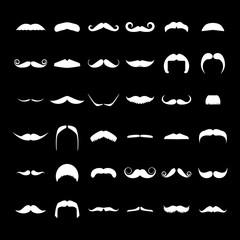 Big set of vector hipster mustache.