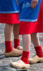 Traditional clogs and costumes in the cheese market, Gouda, Netherlands