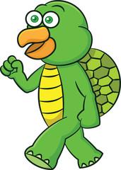 Turtle Walking Cartoon