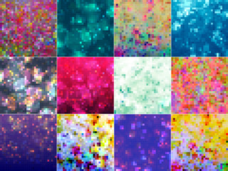 Simple square mosaic background set with vibrant color tones.