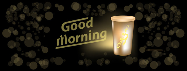 Banner for facebook cover with morning coffee