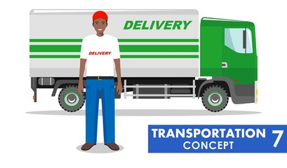 Transportation concept. Detailed illustration of delivery truck and african american driver on white background in flat style. Vector illustration.