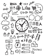 Hand drawn business icon set eps10