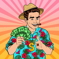Pop Art Rich Man with Dollar Banknotes and Cigar on Tropical Vacation. Vector illustration