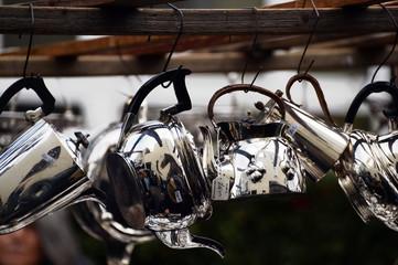 Hanging Silver Pots in Portobello Road