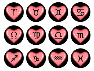 Zodiac signs heart
