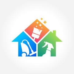 Cleaning Service Business logo design, Eco Friendly Concept for Interior, Home and Building