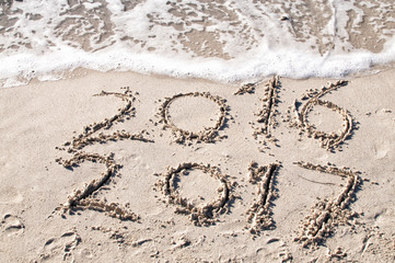 New Year's concept on sand