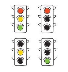 Doodle Traffic light set. Stop, think, do. Isolated Vector Illustration