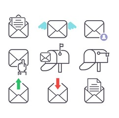 Mail icons vector set.