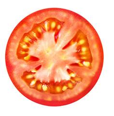 Tomato slice isolated on white