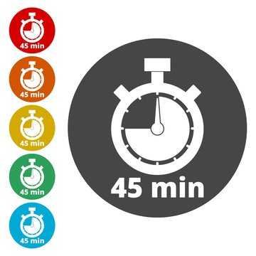 45 minutes stopwatch symbol, Timer icons set